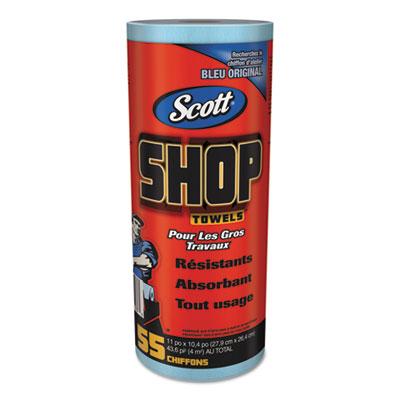 Shop towels, roll, 10 2/5 x 11, blue, 55/roll, 12 rolls/carton, sold as 1 carton, 12 each per carton