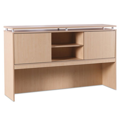 Sedina series hutch with sliding doors, 72w x 15d x 42 1/2h, maple, sold as 1 each