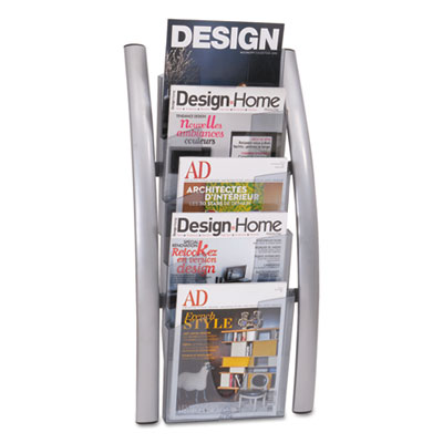 Wall literature display, 14w x 8 1/2d x 30h, silver gray/transluscent, sold as 1 each