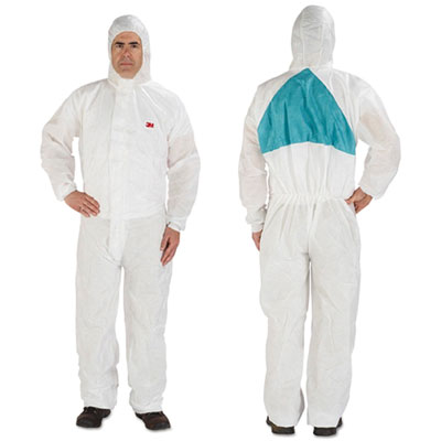 Disposable protective coveralls, white, large, 6/pack, sold as 1 package