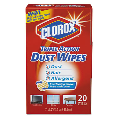 Triple action dust wipes, white, 8 1/2 x 7, 20/box, sold as 1 each