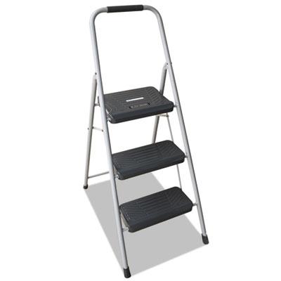 Black and decker steel step stool, three-step, 200 lb cap, gray, sold as 1 each