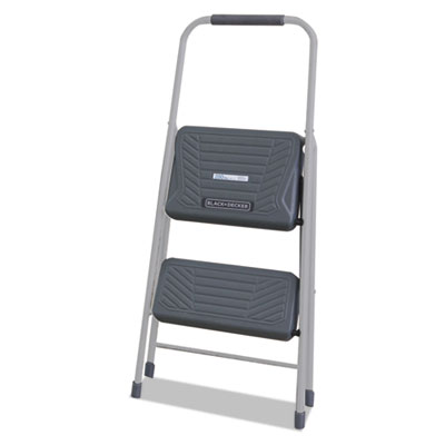 Black and decker steel step stool, two-step, 200 lb cap, gray, sold as 1 each