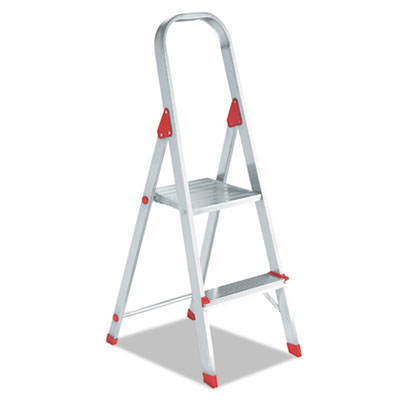#566 folding aluminum euro platform ladder, 2-step, red, sold as 1 each