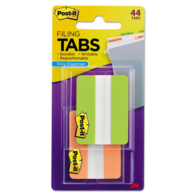 File tabs, 2 x 1 1/2, solid, green/orange, 44/pack, sold as 1 package