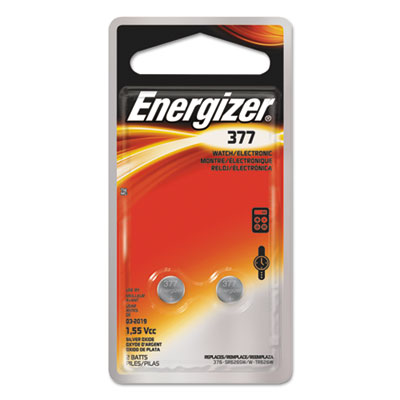 Watch/electronic/specialty battery, 377, 1.5v, 2/pack, sold as 1 package