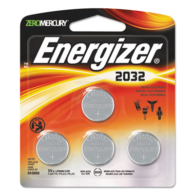 Watch/electronic/specialty battery, 2032, 3v, 4/pack, sold as 1 package