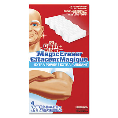 "Magic eraser extra power, 4 3/5"" x 2 2/5"", 4/box, 8 boxes/carton, sold as 1 carton, 32 each per carton"