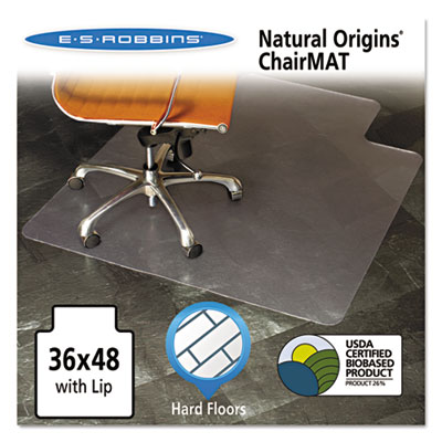 Natural origins chair mat with lip for hard floors, 36 x 48, clear, sold as 1 each