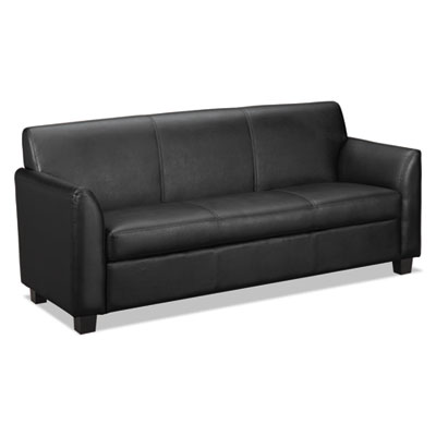 Vl870 series leather reception three-cushion sofa, 73w x 28 3/4d x 32h, black, sold as 1 each