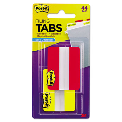 File tabs, 2 x 1 1/2, solid, red/yellow, 44/pack, sold as 1 package