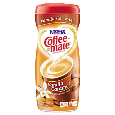 Non-dairy powdered creamer, vanilla caramel, 15 oz canister, 90/pallet, sold as 1 each
