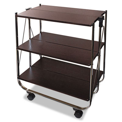 Click-n-fold utility cart, 26 3/4w x 15 3/4d x 31 1/2h, chrome/brown, sold as 1 each