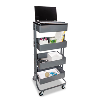 Multi-use storage cart/stand-up workstation, 14 3/4w x 17d x 18 1/2-39d, gray, sold as 1 each