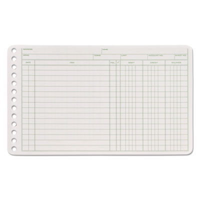 Ledger binder refill sheets, 6-ring, 5 x 8 1/2, green/white, 100 sheets/pack, sold as 1 package