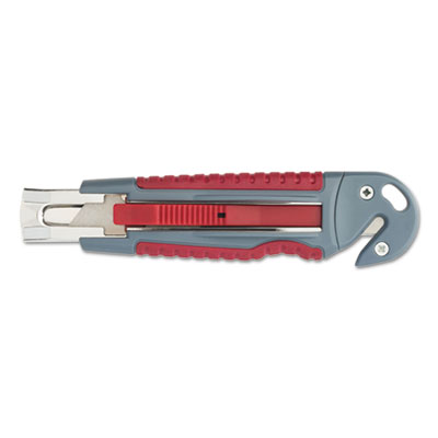 "Titanium auto-retract utility knife with carton slicer, gray/red, 3 1/2"" blade, sold as 1 each"