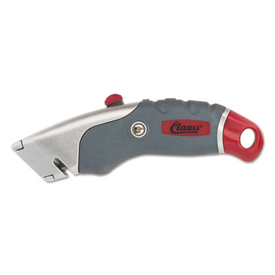 "Titanium auto-retract utility knife, gray/red, 2 3/10"" blade, sold as 1 each"