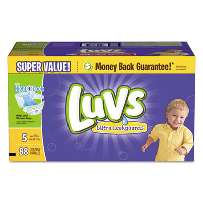 Diapers w/leakguard, size 5: 27 to 35 lbs, 88/carton, sold as 1 carton, 88 each per carton