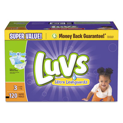 Diapers w/leakguard, size 3: 16 to 28 lbs, 120/carton, sold as 1 carton, 120 each per carton