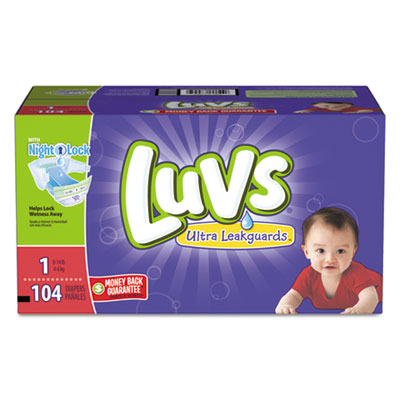 Diapers w/leakguard, size 1: 8 to 14 lbs, 104/carton, sold as 1 carton, 104 each per carton