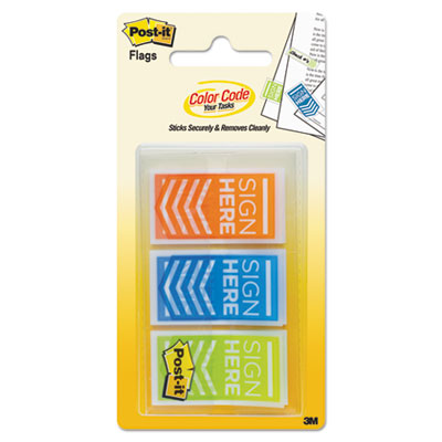 "Arrow message 1"" page flags, ""sign here"", orange; blue; lime green, 60/pack, sold as 1 package"