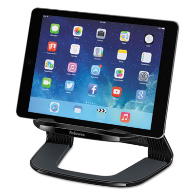 Tablet riser, 8 7/16 x 5 7/16 x 4 5/8, black/gray, sold as 1 each