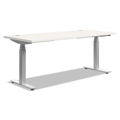 Height-adjustable table base, 72w x 24d x 23 5/8-49 1/4h, silver, sold as 1 each