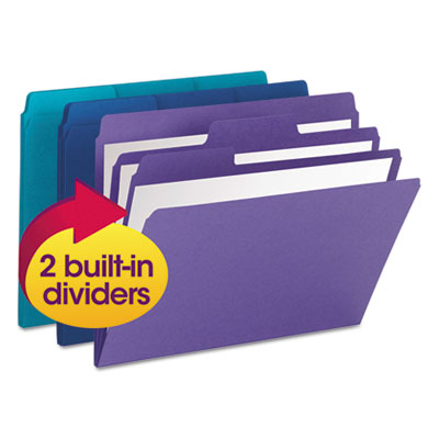 Supertab organizer folder, 1/3 cut top tab, assorted, 3/pack, sold as 1 package