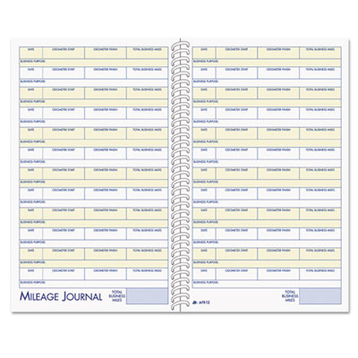 Vehicle mileage and expense book, 5 1/4 x 8 1/2, 49 forms, 63 pages, sold as 1 each