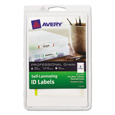 Durable self laminating id labels, 4 x 6 sheet, 2/3 x 3 3/8, white/asst, 24/pack, sold as 1 package