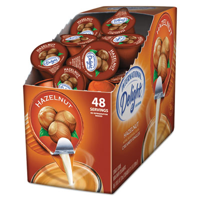 Flavored liquid non-dairy coffee creamer, hazelnut, 0.4375 oz cup, 48/box, sold as 1 box, 48 each per box
