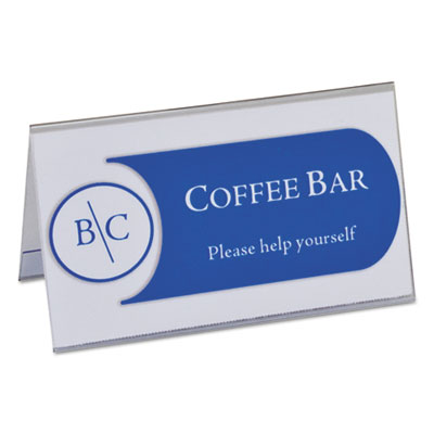"Tent card holders, 2"" x 3 1/2"", rigid heavyweight clear plastic, 40/box, sold as 1 box, 40 each per box"
