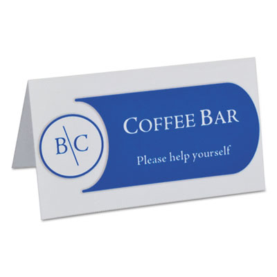 Scored tent cards, white cardstock, 3 1/2 x 2, 4/sheet, 40 sheets/bx, sold as 1 box, 160 each per box