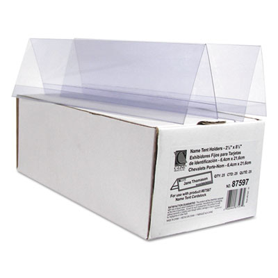 "Tent card holders, 2 1/2"" x 8 1/2"", rigid heavyweight clear plastic, 25/box, sold as 1 box, 25 each per box"