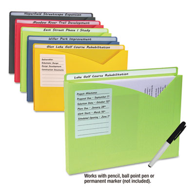 "Write-on expanding poly file folders, 1"" exp., letter, assorted colors, 10/bx, sold as 1 package"