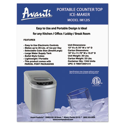 Portable/countertop ice maker, platinum, 10, sold as 1 each