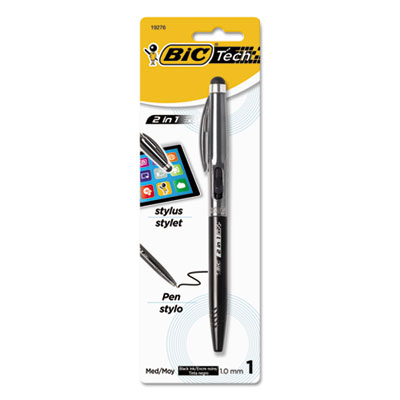 Tech 2 in 1 retractable ball pen and stylus, silver, sold as 1 each