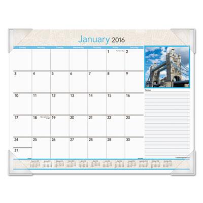 European destinations desk pad calendar, 22 x 17, 2016, sold as 1 each