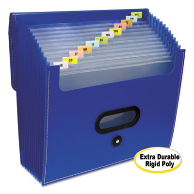 "13-pocket ladder expanding file, 10"" exp, letter, 13 x 12 1/4, blue, sold as 1 each"
