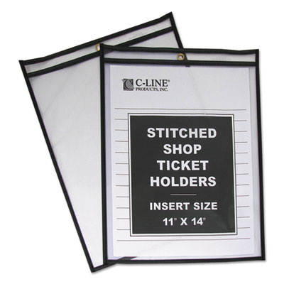 "Shop ticket holders, stitched, both sides clear, 75"", 11 x 14, 25/bx, sold as 1 box, 25 each per box"