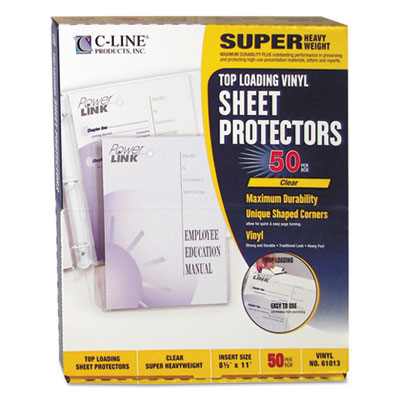 "Super heavyweight vinyl sheet protector, clear, 2"", 11 x 8 1/2, 50/bx, sold as 1 box, 50 each per box"