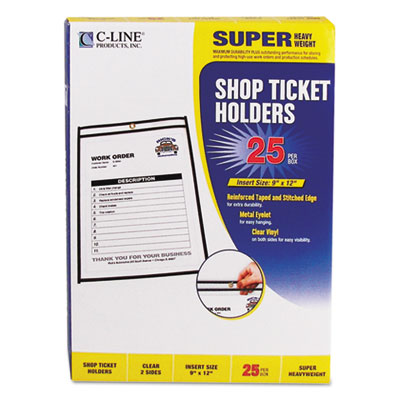 "Shop ticket holders, stitched, both sides clear, 75"", 9 x 12, 25/bx, sold as 1 box, 25 each per box"