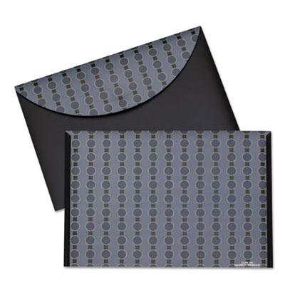 Circle pattern expanding file, letter, 1-pocket, reusable envelope, black/gray, sold as 1 each