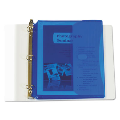 Poly binder pockets, 11 1/2 x 9 1/4, blue, 5/pack, sold as 1 package