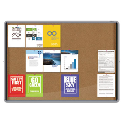 Enclosed indoor cork bulletin board w/sliding glass doors, 56 x 39, silver frame, sold as 1 each