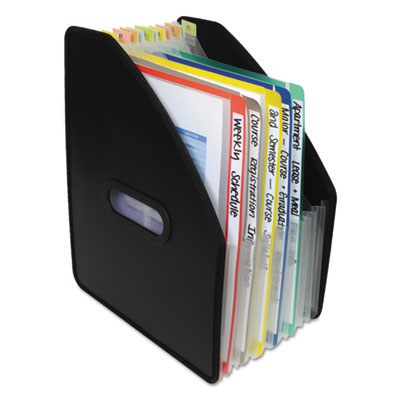 "Vertical expanding file, 13-pocket, 10"" expansion, letter, poly, black, sold as 1 each"