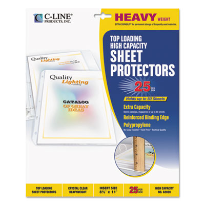 "High capacity polypropylene sheet protectors, clear, 50"", 11 x 8 1/2, 25/bx, sold as 1 box, 25 each per box"