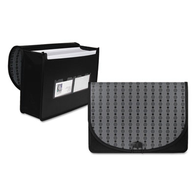 Circle pattern expanding file, letter, 1-pocket, document case, black/gray, sold as 1 each