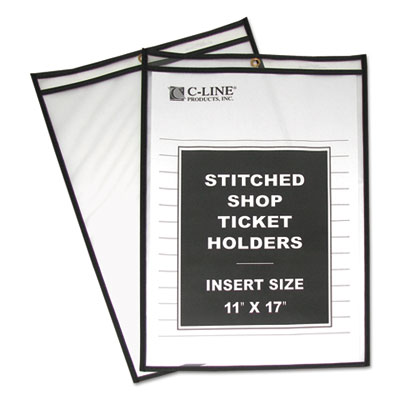 "Shop ticket holders, stitched, both sides clear, 75"", 11 x 17, 25/bx, sold as 1 box, 25 each per box"