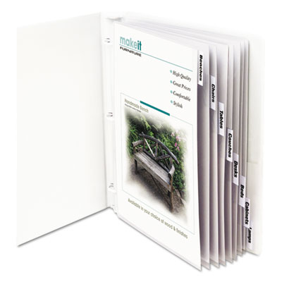 "Sheet protectors with index tabs, clear tabs, 2"", 11 x 8 1/2, 8/st, sold as 1 set"